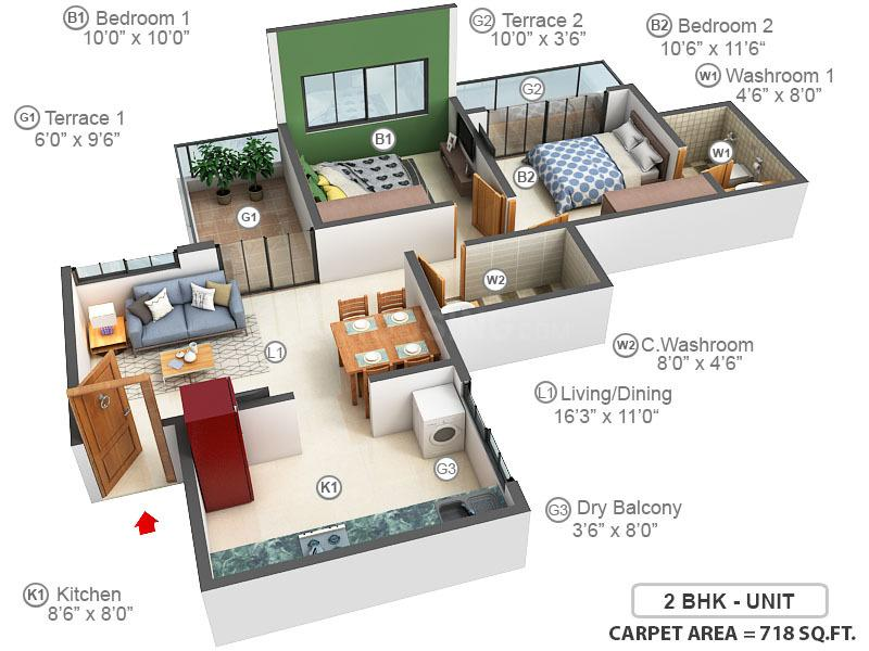 Shree Sonigara Signature Park C And D Building Floor Plan: 2 BHK Unit with Built up area of 718 sq.ft 1