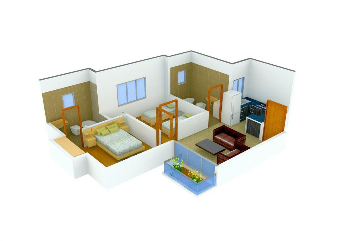 Hightech Aman Apartments Floor Plan: 2 BHK Unit with Built up area of 680 sq.ft 1
