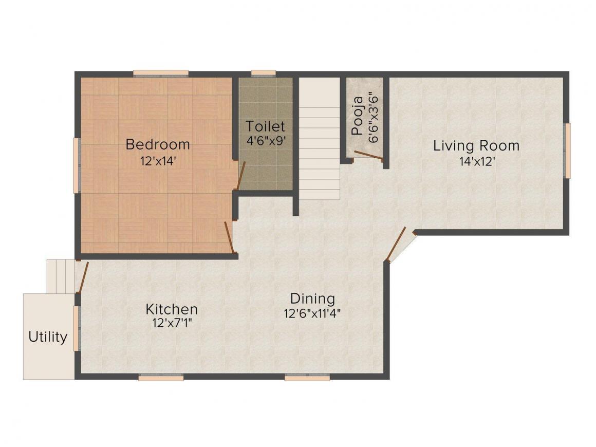 Floor Plan Image of 2336 - 2829 Sq.ft 3 BHK Villa for buy in Rams Blue Bay Villas