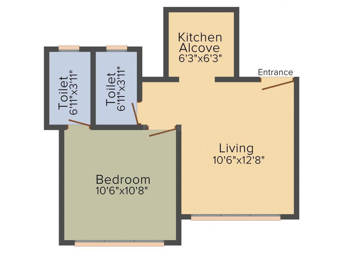 Marathon Nexworld Elara 1 Floor Plan: 1 BHK Unit with Built up area of 332 sq.ft 1
