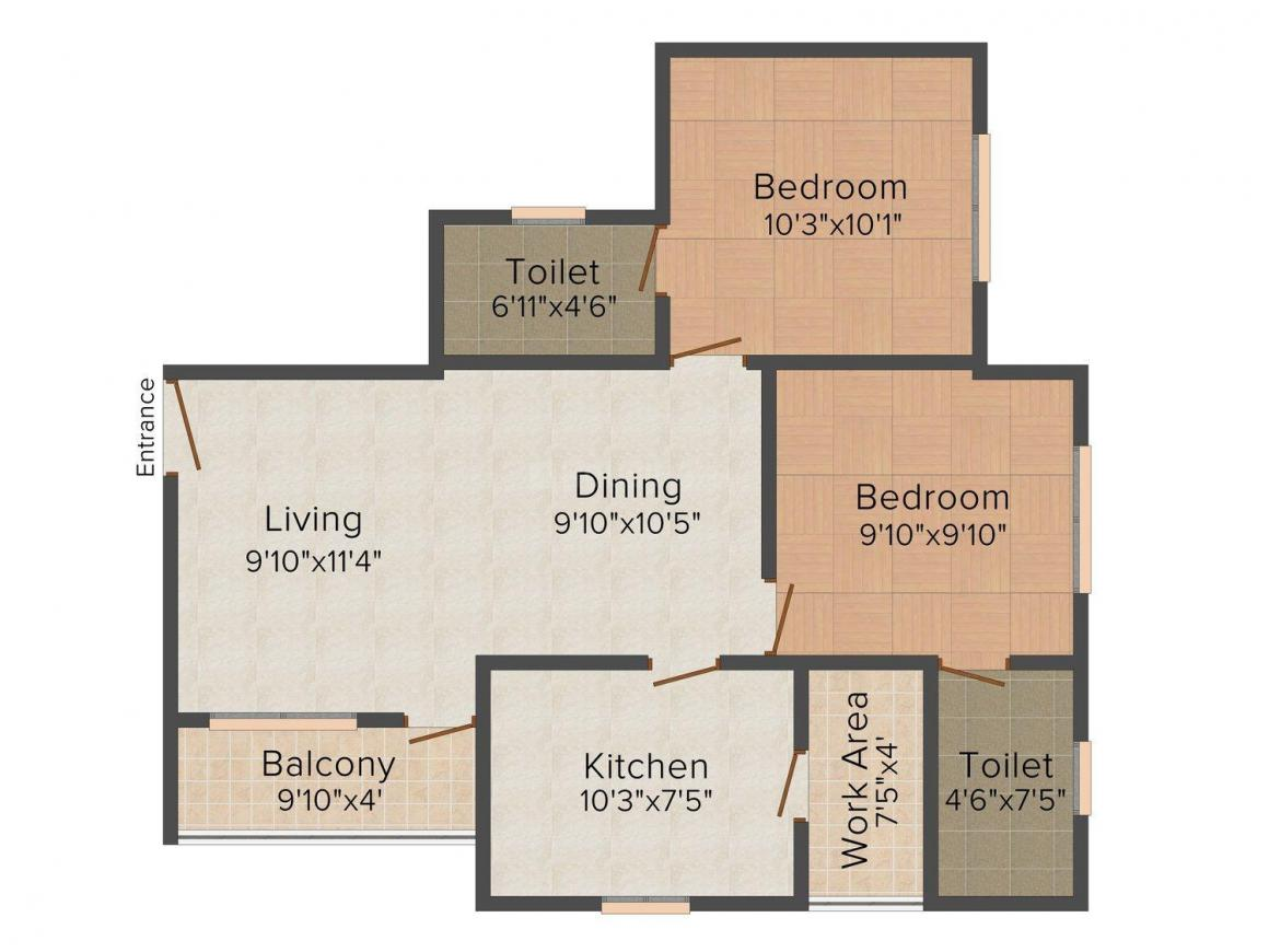 Floor Plan Image of 905 - 1185 Sq.ft 2 BHK Apartment for buy in Kalyan Opal