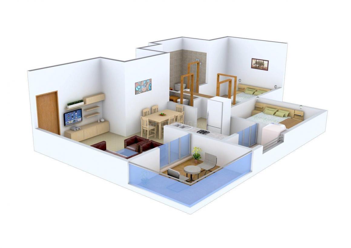 Floor Plan Image of 0 - 730.0 Sq.ft 2 BHK Apartment for buy in G K Wonders Rosewood