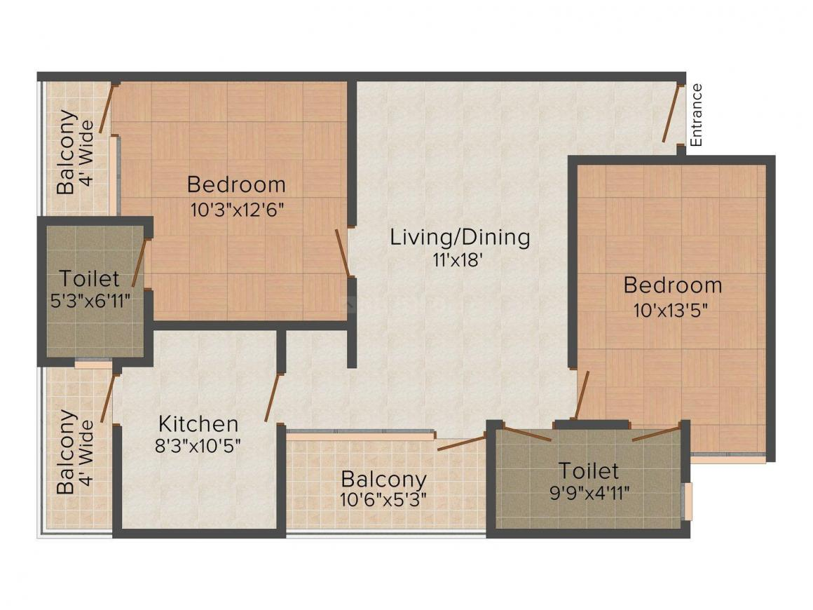 Floor Plan Image of 1173.0 - 2430.0 Sq.ft 2 BHK Apartment for buy in SNG Samriddhi
