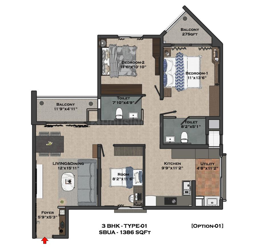 Bren Imperia Floor Plan: 2 BHK Unit with Built up area of 942 sq.ft 4