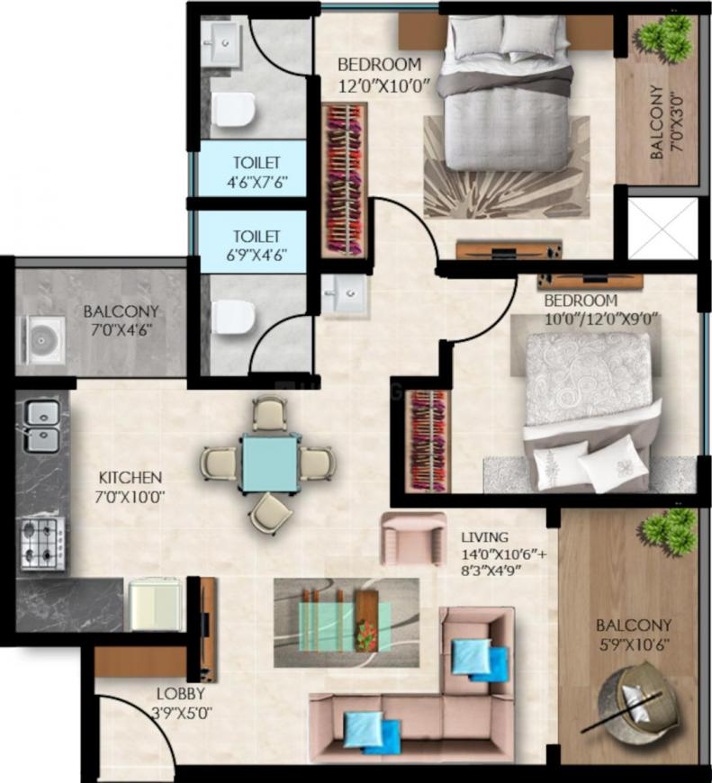 24 Sunshine Towers Floor Plan: 2 BHK Unit with Built up area of 626 sq.ft 1