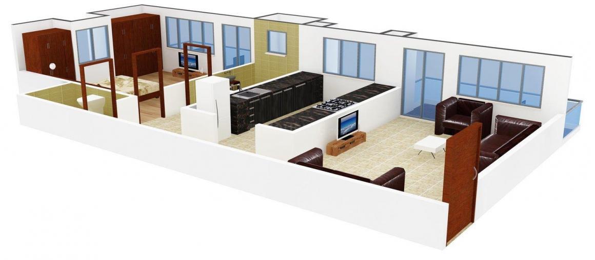 Floor Plan Image of 608 - 860 Sq.ft 1 BHK Apartment for buy in Garva Residency