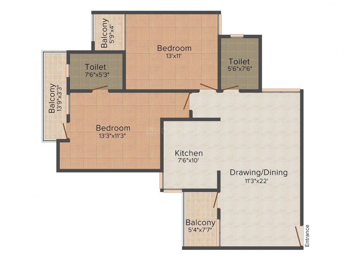 Floor Plan Image of 1190 - 1410 Sq.ft 2 BHK Apartment for buy in Mangalam The Grand Geejgarh