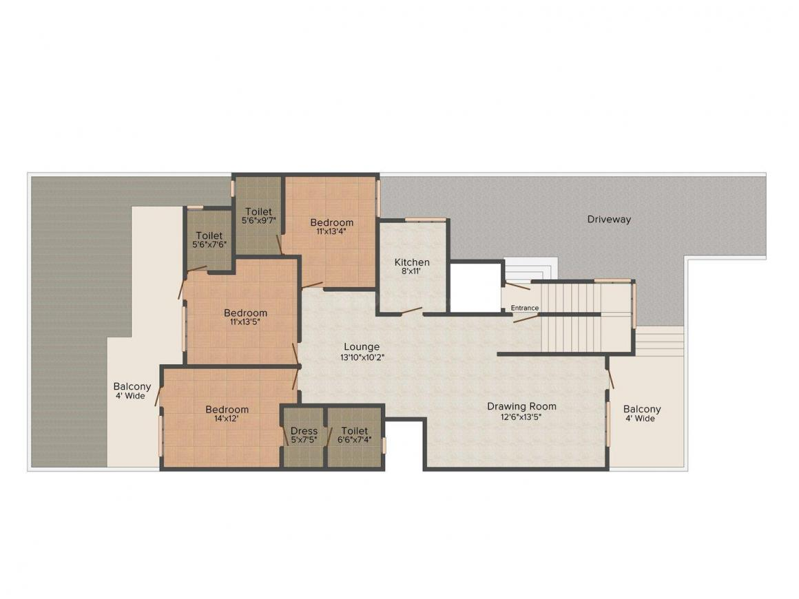Infratech Floors - 11 Floor Plan: 3 BHK Unit with Built up area of 1620 sq.ft 1