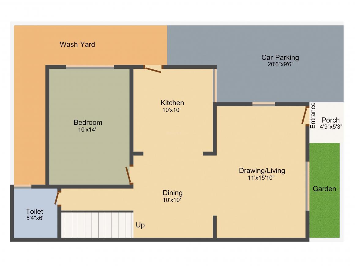Binori Rosella Floor Plan: 3 BHK Unit with Built up area of 1800 sq.ft 1