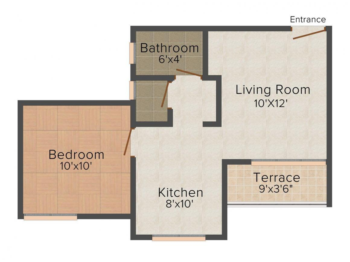 Floor Plan Image of 500 - 900 Sq.ft 1 BHK Apartment for buy in Dream House 1