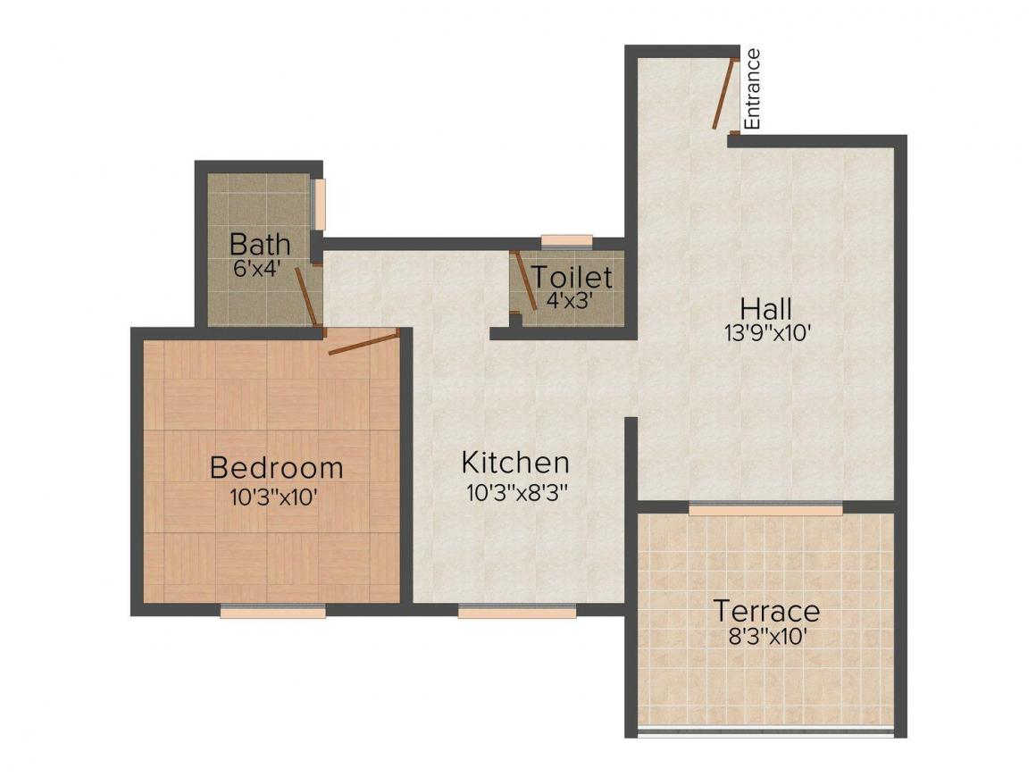Floor Plan Image of 626 - 882 Sq.ft 1 BHK Apartment for buy in Umang Sai Appartment