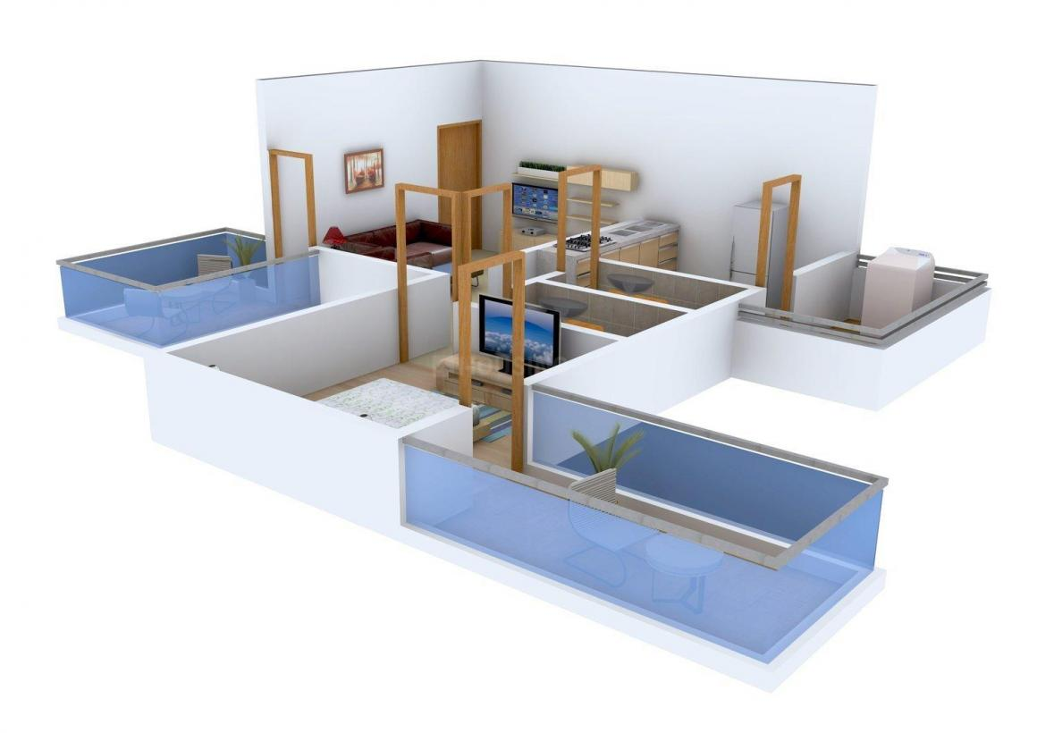 Shitole Sai Sarth Residency Floor Plan: 1 BHK Unit with Built up area of 731 sq.ft 1