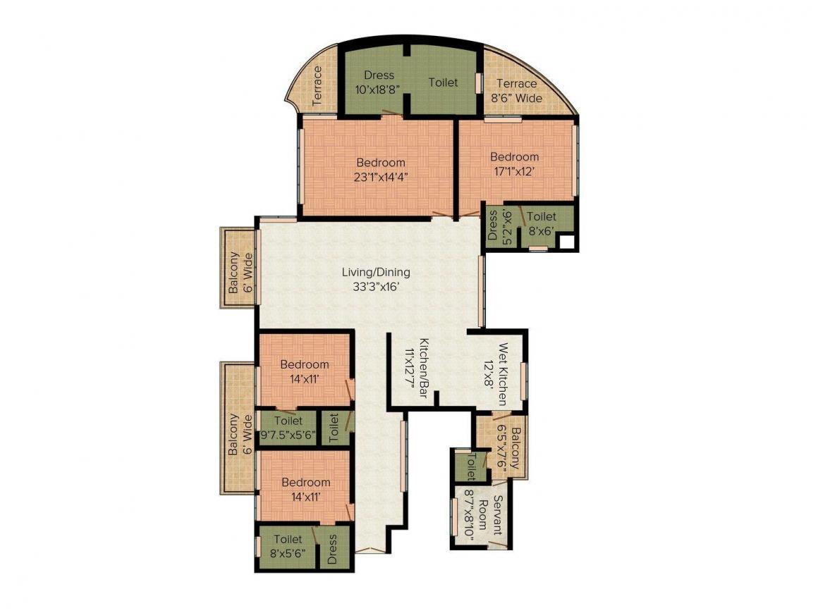 Spaze Vesta Floor Plan: 4 BHK Unit with Built up area of 3980 sq.ft 1