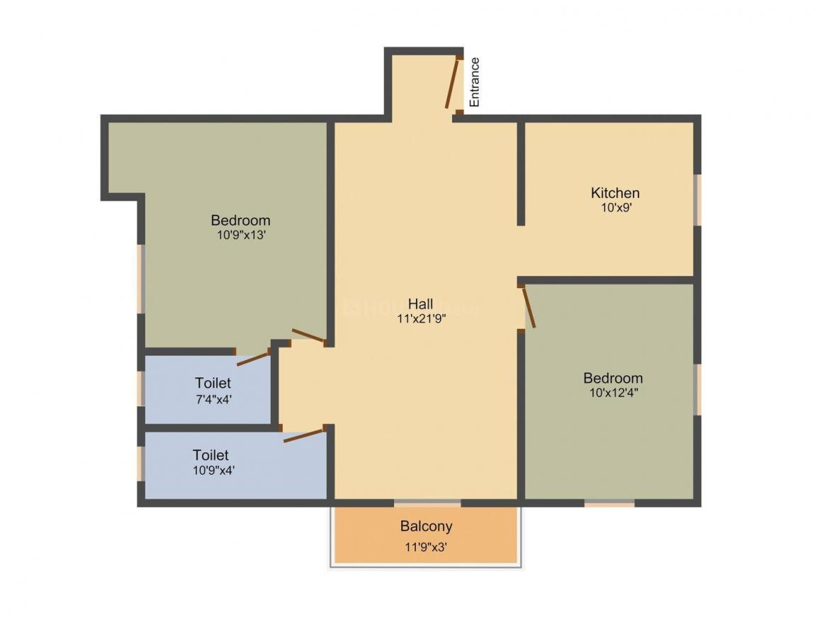 Floor Plan Image of 924 - 1217 Sq.ft 2 BHK Apartment for buy in Silicon Rajee Homes