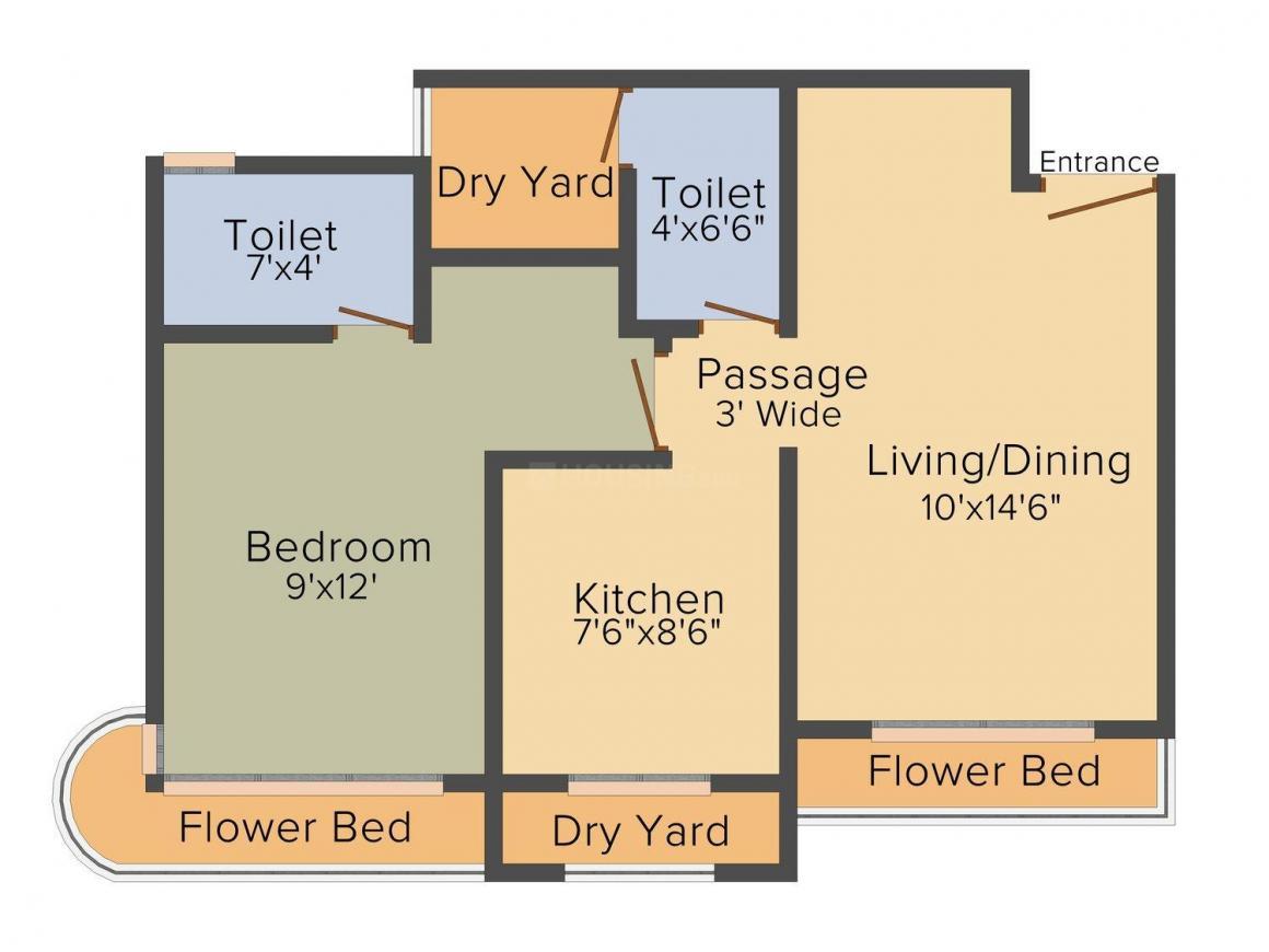 Unique Aurum II Floor Plan: 1 BHK Unit with Built up area of 405 sq.ft 1