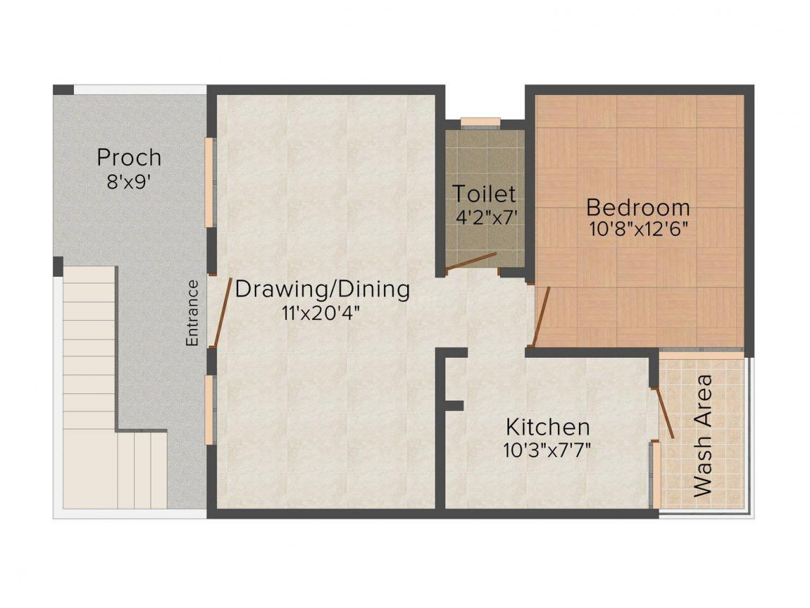 Jindal Orchid Towers 2 Floor Plan: 2 BHK Unit with Built up area of 804 sq.ft 1