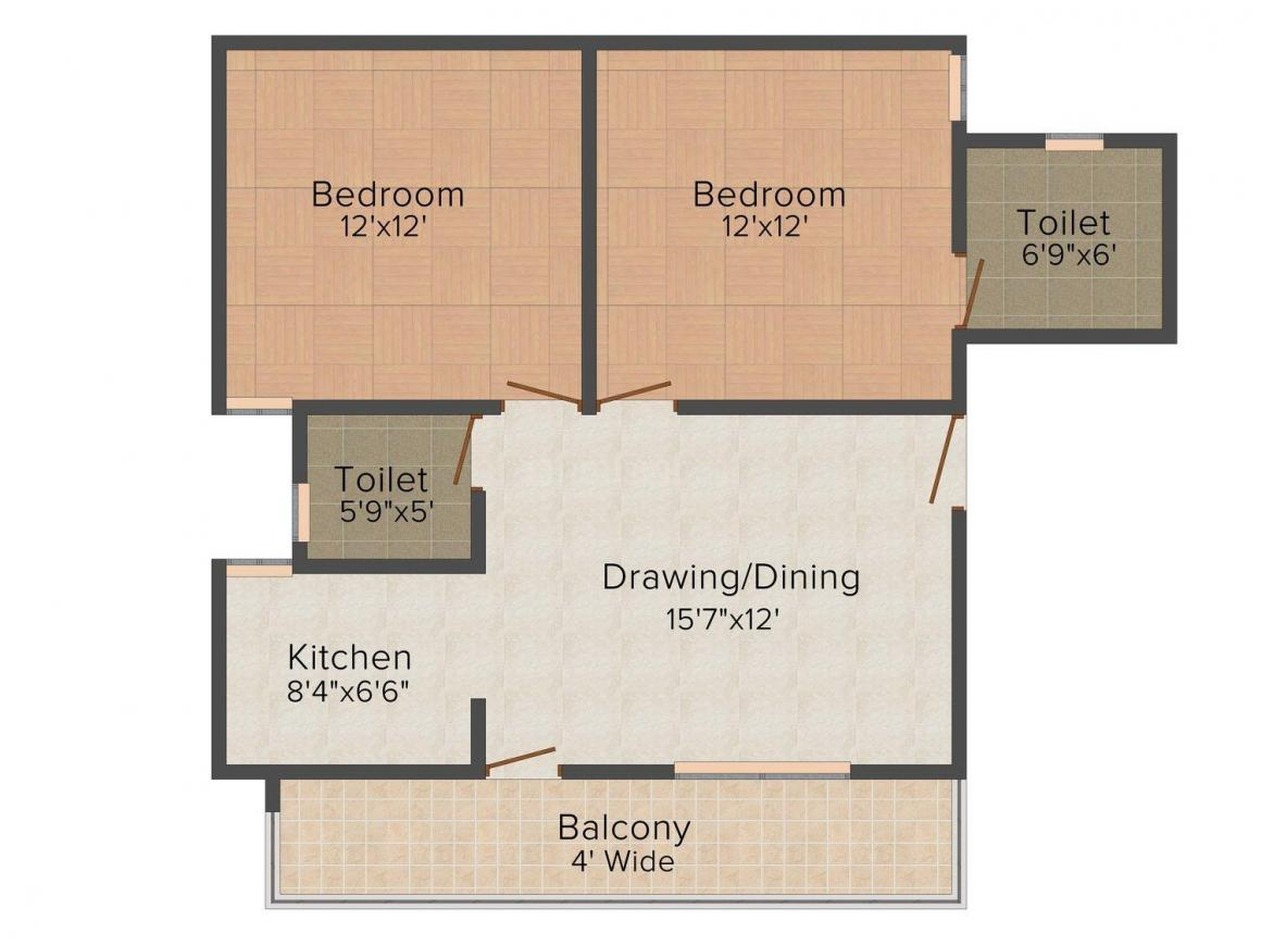 Floor Plan Image of 850 - 1200 Sq.ft 2 BHK Independent Floor for buy in RBS Homes