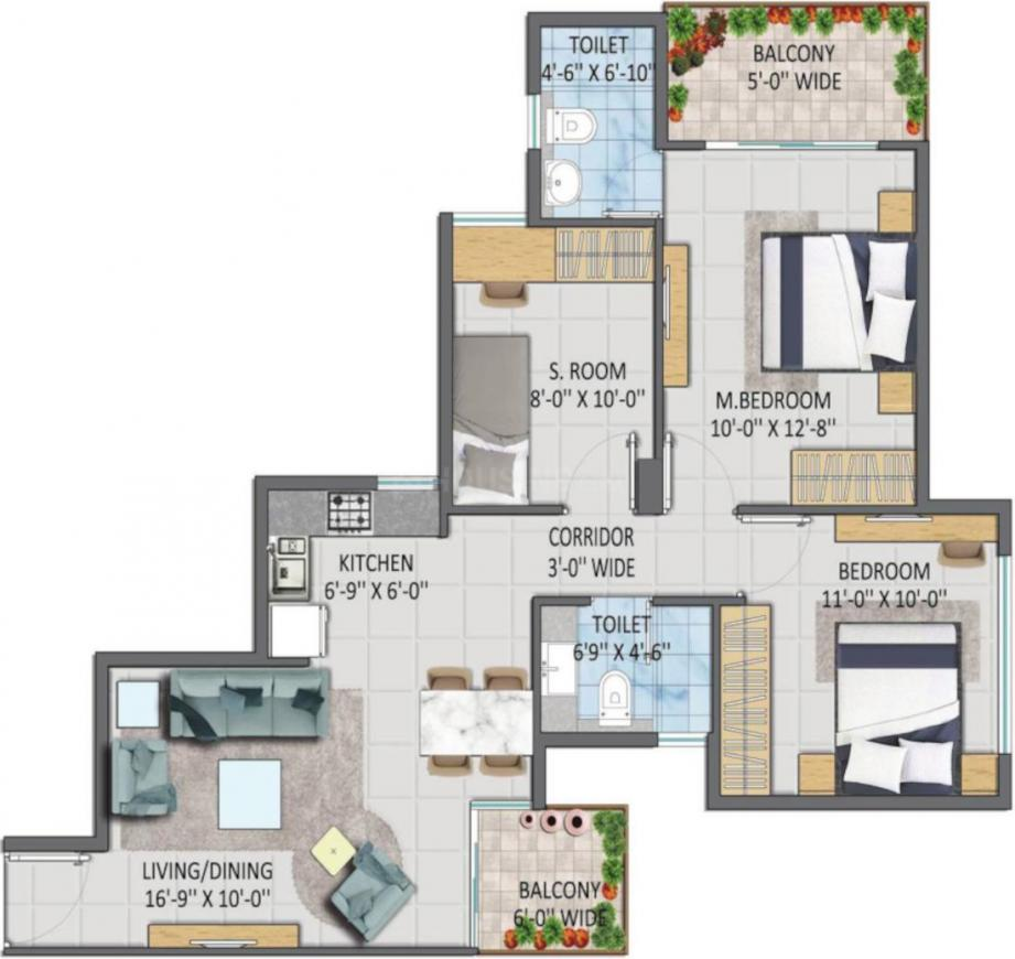 Imperia Aashiyara Phase 2 Floor Plan: 3 BHK Unit with Built up area of 645 sq.ft 1