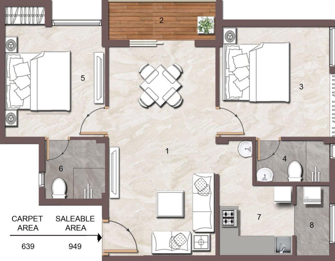 Jain Anukriti Floor Plan: 2 BHK Unit with Built up area of 949 sq.ft 1