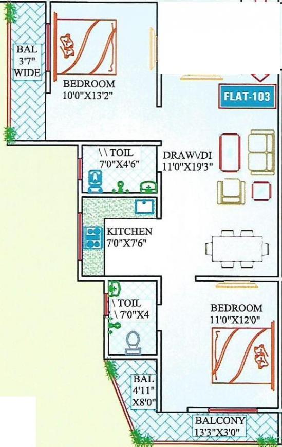 Aditya Gauri Dev Residency Floor Plan: 2 BHK Unit with Built up area of 1000 sq.ft 1