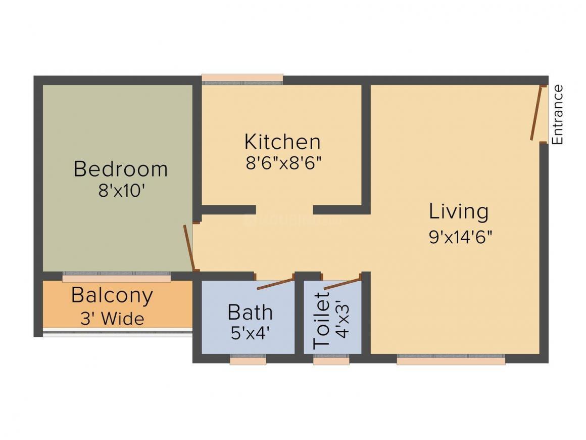 Floor Plan Image of 470.0 - 690.0 Sq.ft 1 BHK Apartment for buy in Raj Shree Geeta Bhavan