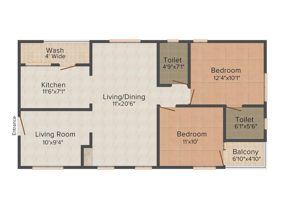 Floor Plan Image of 1162 - 1634 Sq.ft 2 BHK Apartment for buy in Aryamitra Trenton Park