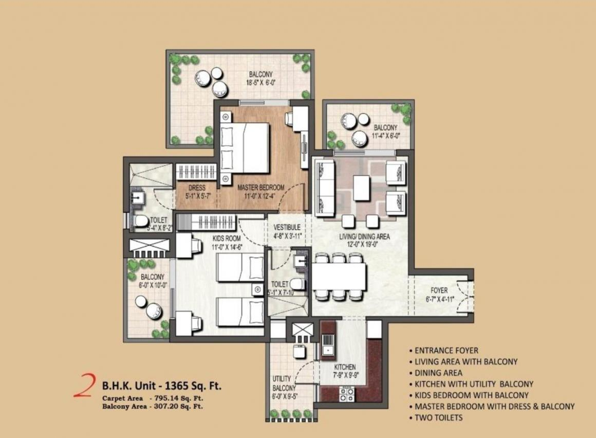 Assotech Blith Floor Plan: 2 BHK Unit with Built up area of 1365 sq.ft 1