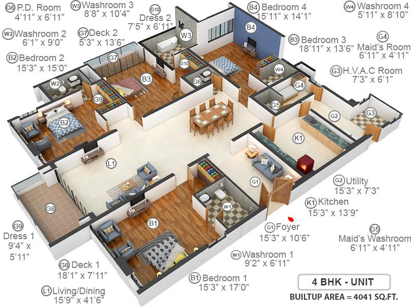 Prestige White Meadows Floor Plan: 4 BHK Unit with Built up area of 4041 sq.ft 1
