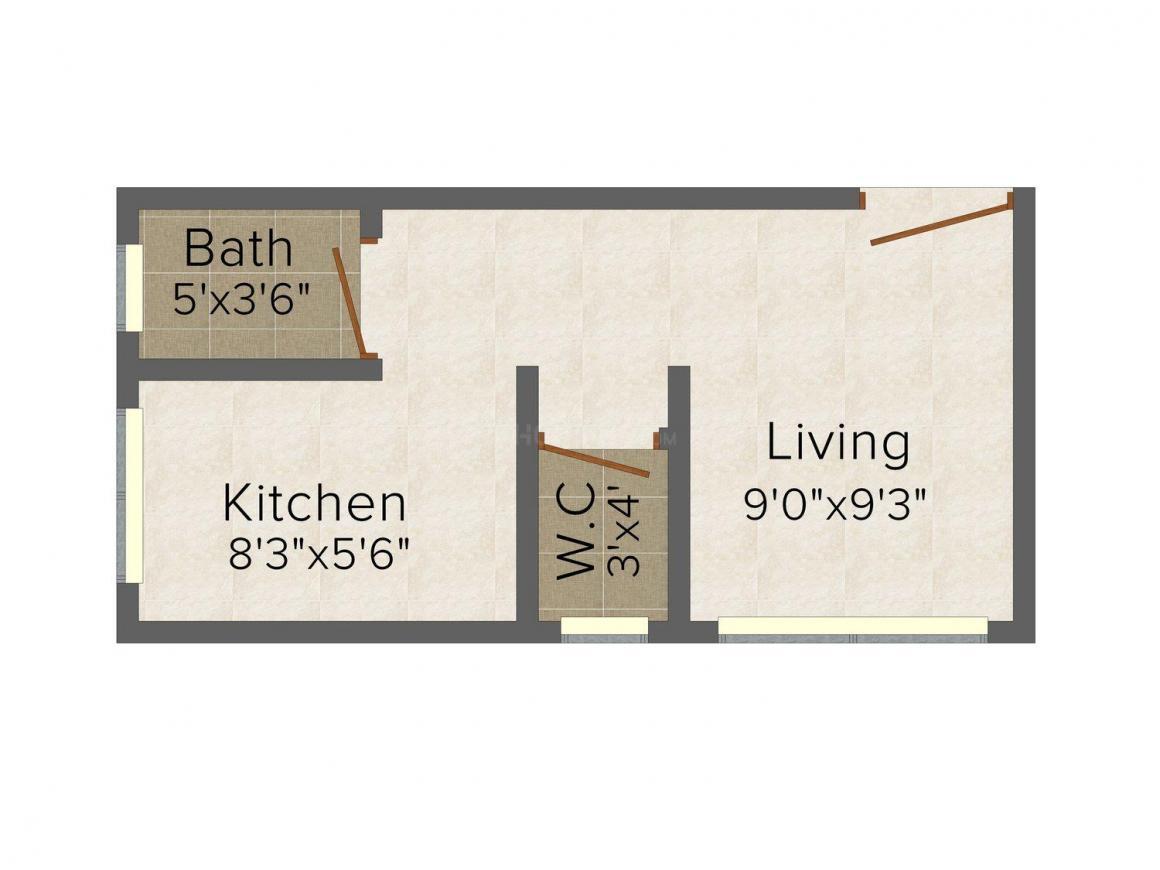 Mahalaxmi Aarambh Apartment Floor Plan: 1 BHK Unit with Built up area of 325 sq.ft 1
