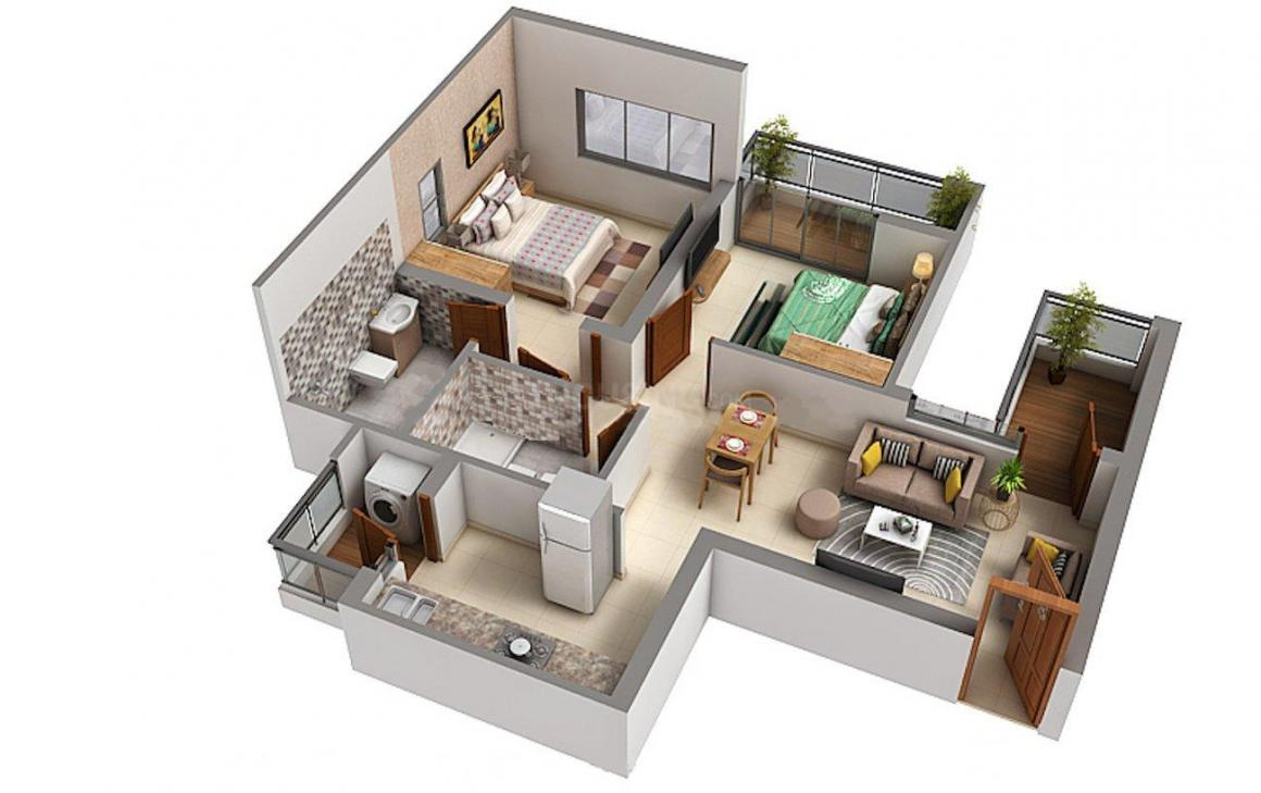 Godrej Infinity Floor Plan: 2 BHK Unit with Built up area of 688 sq.ft 1