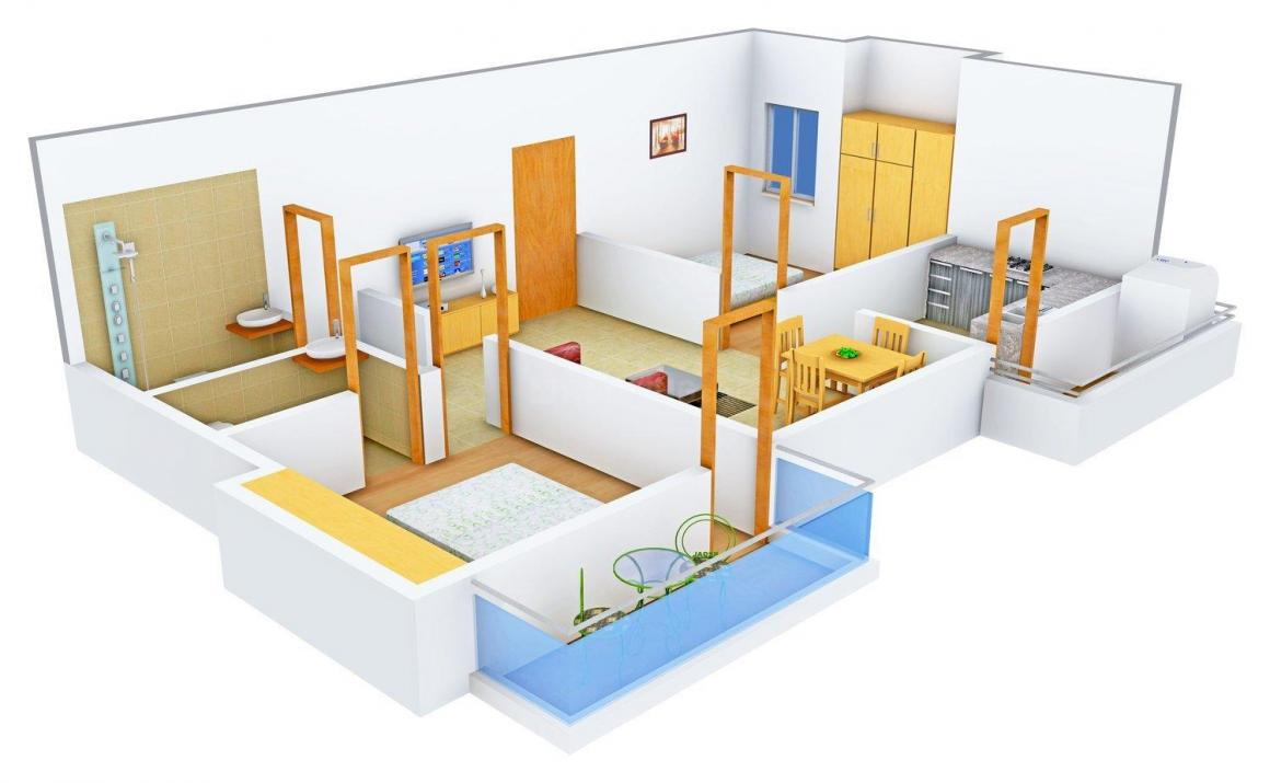 SDB Sheryas Floor Plan: 2 BHK Unit with Built up area of 848 sq.ft 1