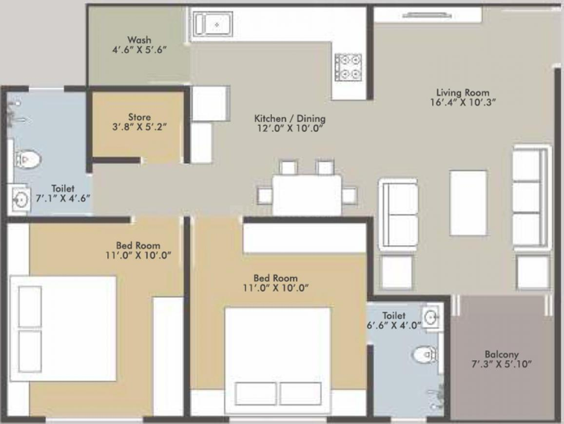 Blue Ocean Floor Plan: 2 BHK Unit with Built up area of 665 sq.ft 1