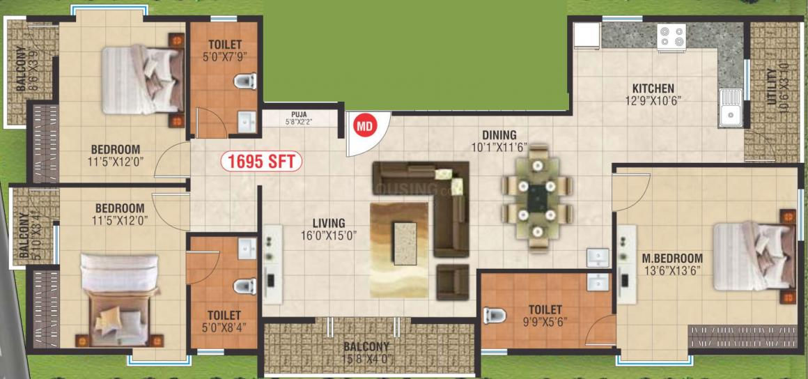 Sukhada Manan Exotica Floor Plan: 3 BHK Unit with Built up area of 1695 sq.ft 1