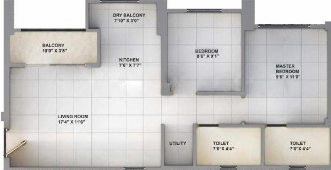 Sanas You57 Tower A Floor Plan: 2 BHK Unit with Built up area of 551 sq.ft 1