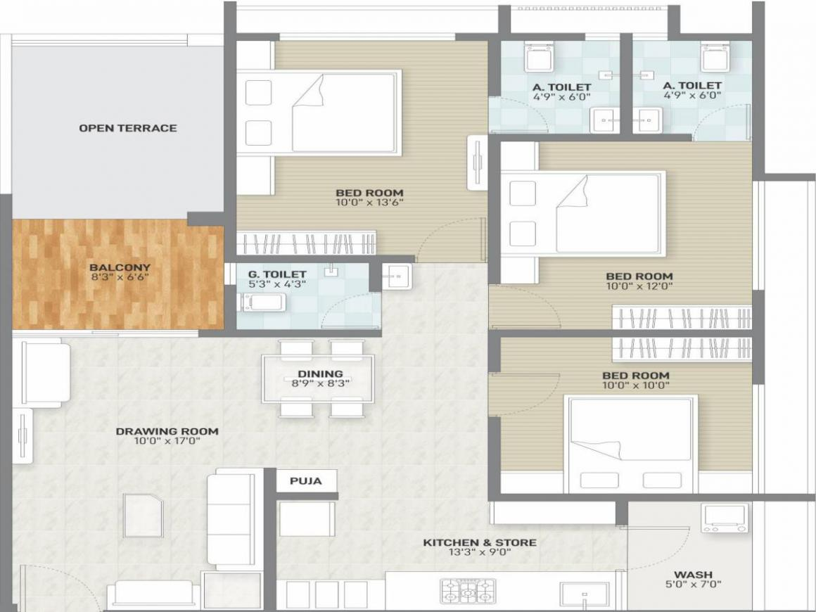 Shiv Ananta Floor Plan: 3 BHK Unit with Built up area of 832 sq.ft 1