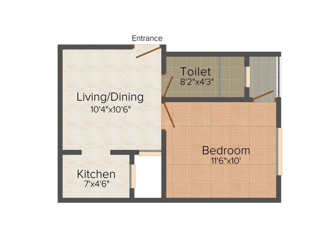 Shree Shyam Home 2 Floor Plan: 1 BHK Unit with Built up area of 405 sq.ft 1