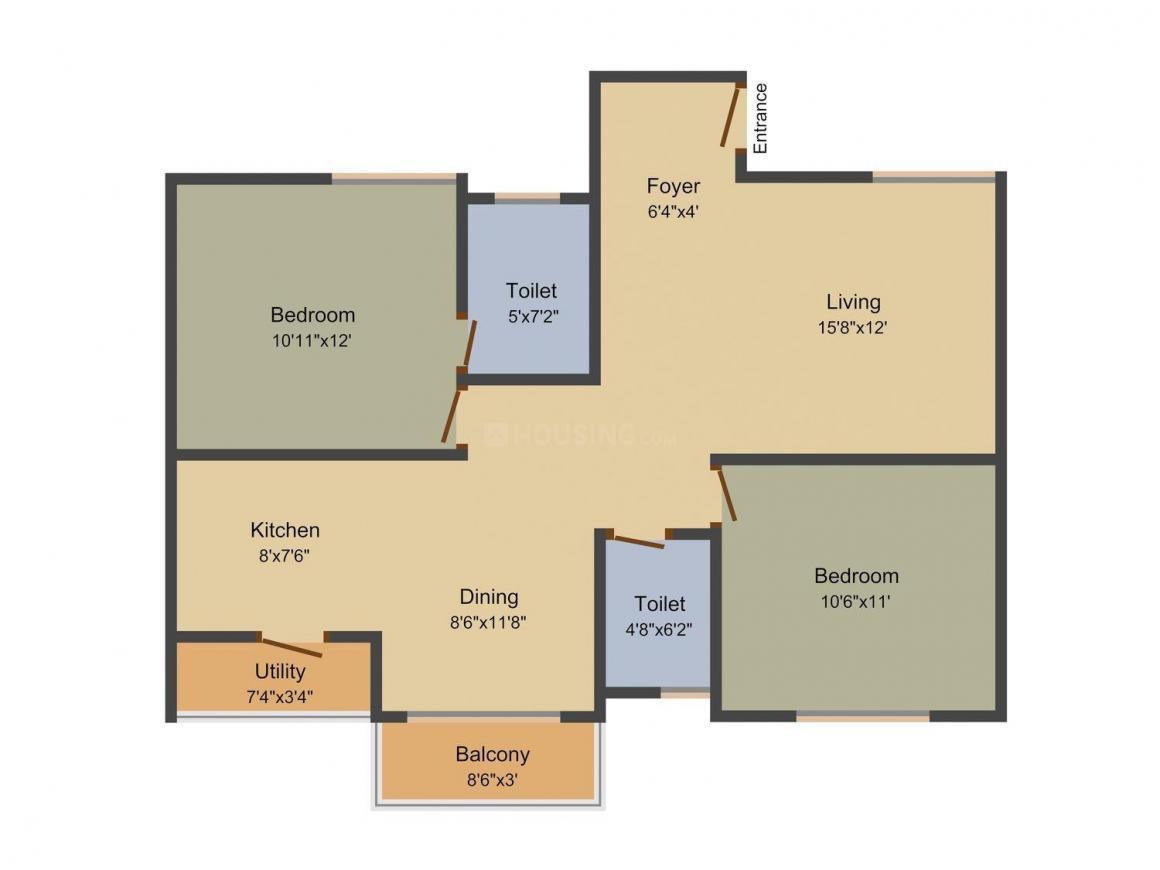Floor Plan Image of 1058.0 - 1388.0 Sq.ft 2 BHK Apartment for buy in Aanya Shree Heights