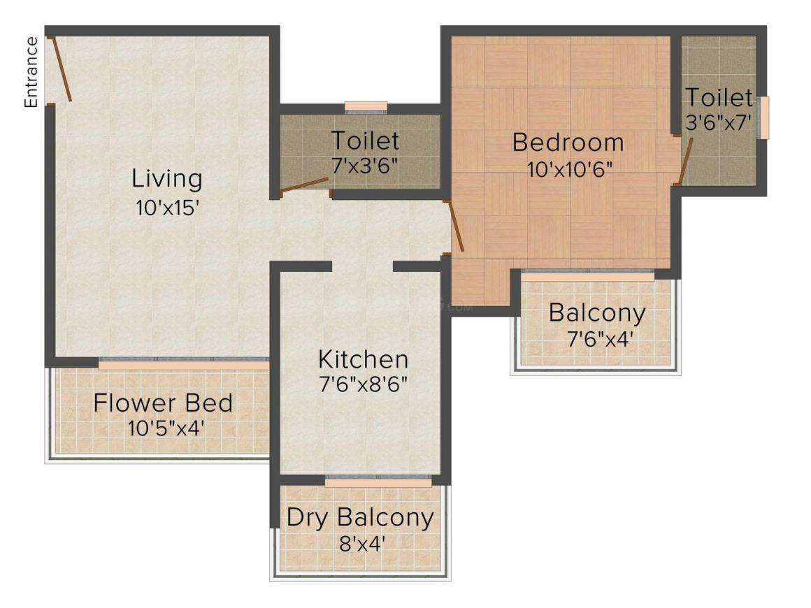 Akshita Heights Floor Plan: 1 BHK Unit with Built up area of 710 sq.ft 1
