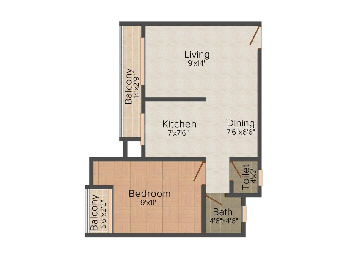 Floor Plan Image of 0 - 610 Sq.ft 1 BHK Apartment for buy in Rane Shraddha