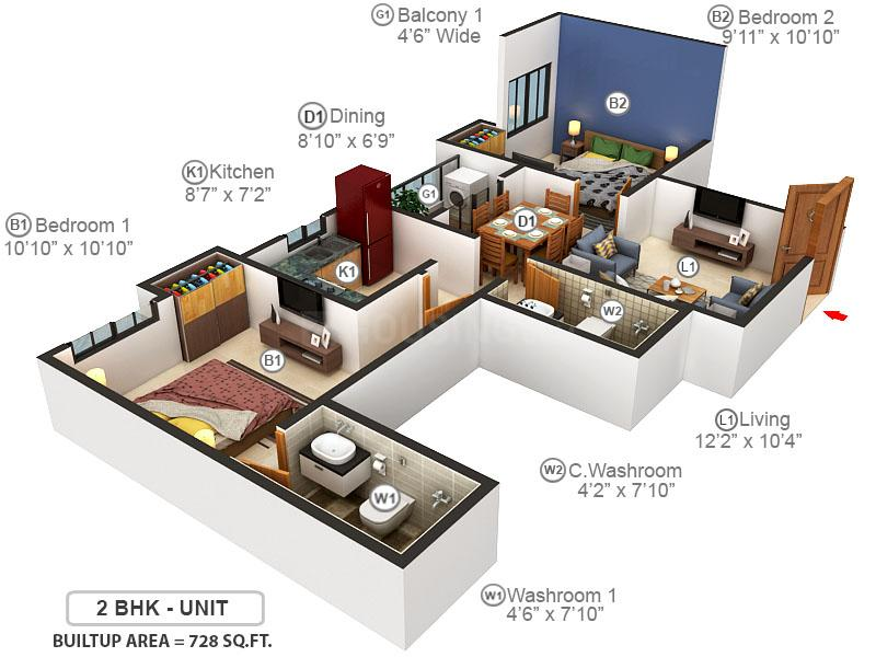 Merlin Pristine Floor Plan: 2 BHK Unit with Built up area of 728 sq.ft 1