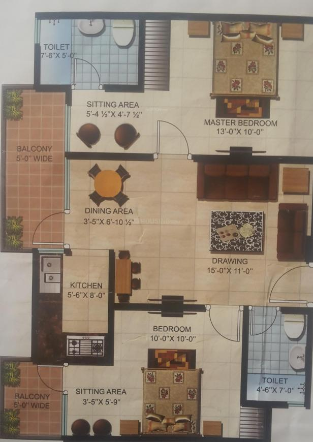 Milan Earth Floor Plan: 2 BHK Unit with Built up area of 1095 sq.ft 1