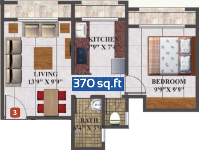 Skywards Regency Floor Plan: 1 BHK Unit with Built up area of 370 sq.ft 1