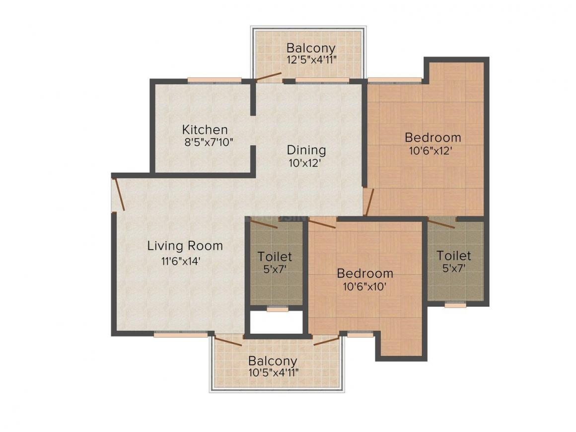 Sidhartha Group NCR One Floor Plan: 2 BHK Unit with Built up area of 1100 sq.ft 1