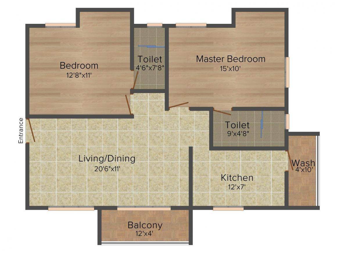 Floor Plan Image of 0 - 1110.0 Sq.ft 2 BHK Apartment for buy in India Amruth