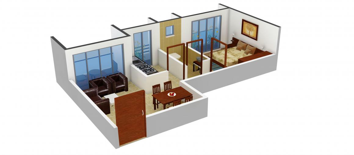 Floor Plan Image of 0 - 510.0 Sq.ft 1 BHK Apartment for buy in Metro Point