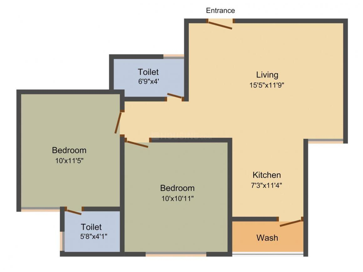 BV Diva Heights Floor Plan: 2 BHK Unit with Built up area of 1080 sq.ft 1