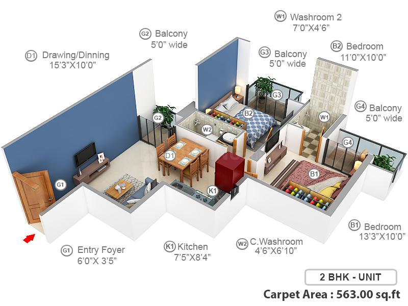GLS South Avenue Floor Plan: 2 BHK Unit with Built up area of 563 sq.ft 1