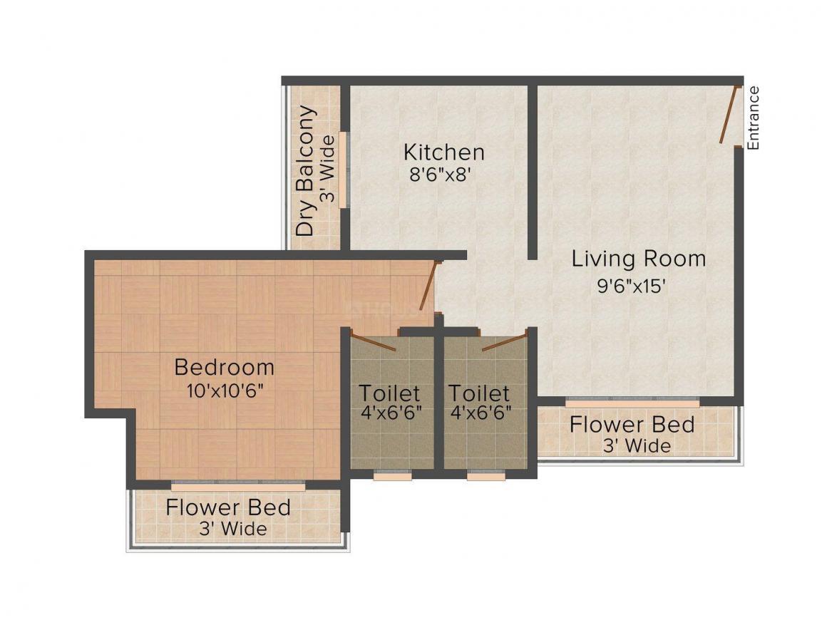 Seven Eleven Regency Floor Plan: 1 BHK Unit with Built up area of 685 sq.ft 1