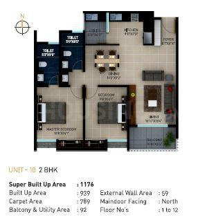 Sekhar Alturas Floor Plan: 2 BHK Unit with Built up area of 1176 sq.ft 1