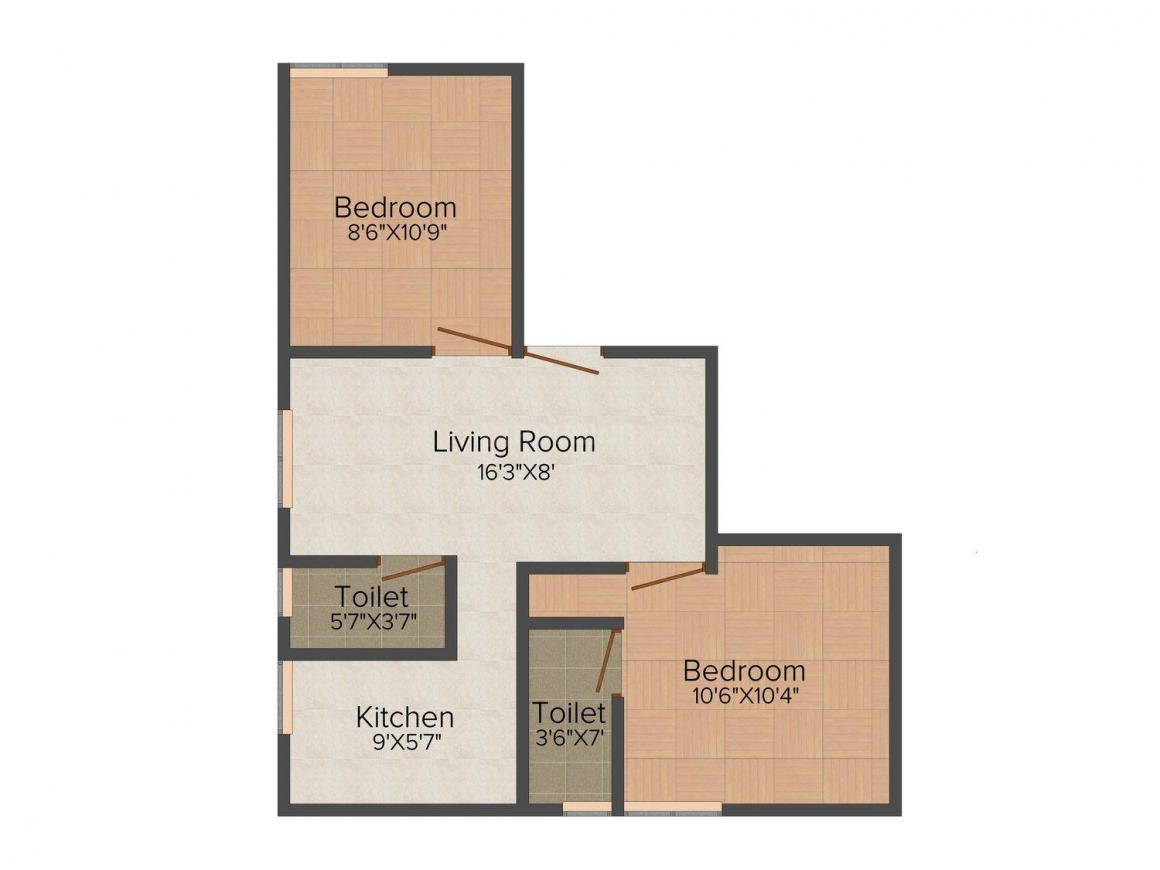 Floor Plan Image of 700 - 1004 Sq.ft 2 BHK Apartment for buy in Maha Thilaga